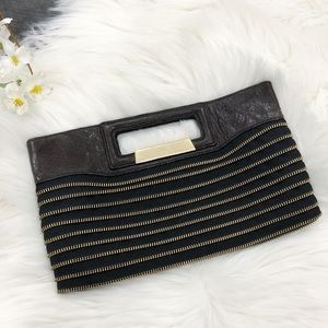 BCBG Zipper Cutout Handle Clutch Bag